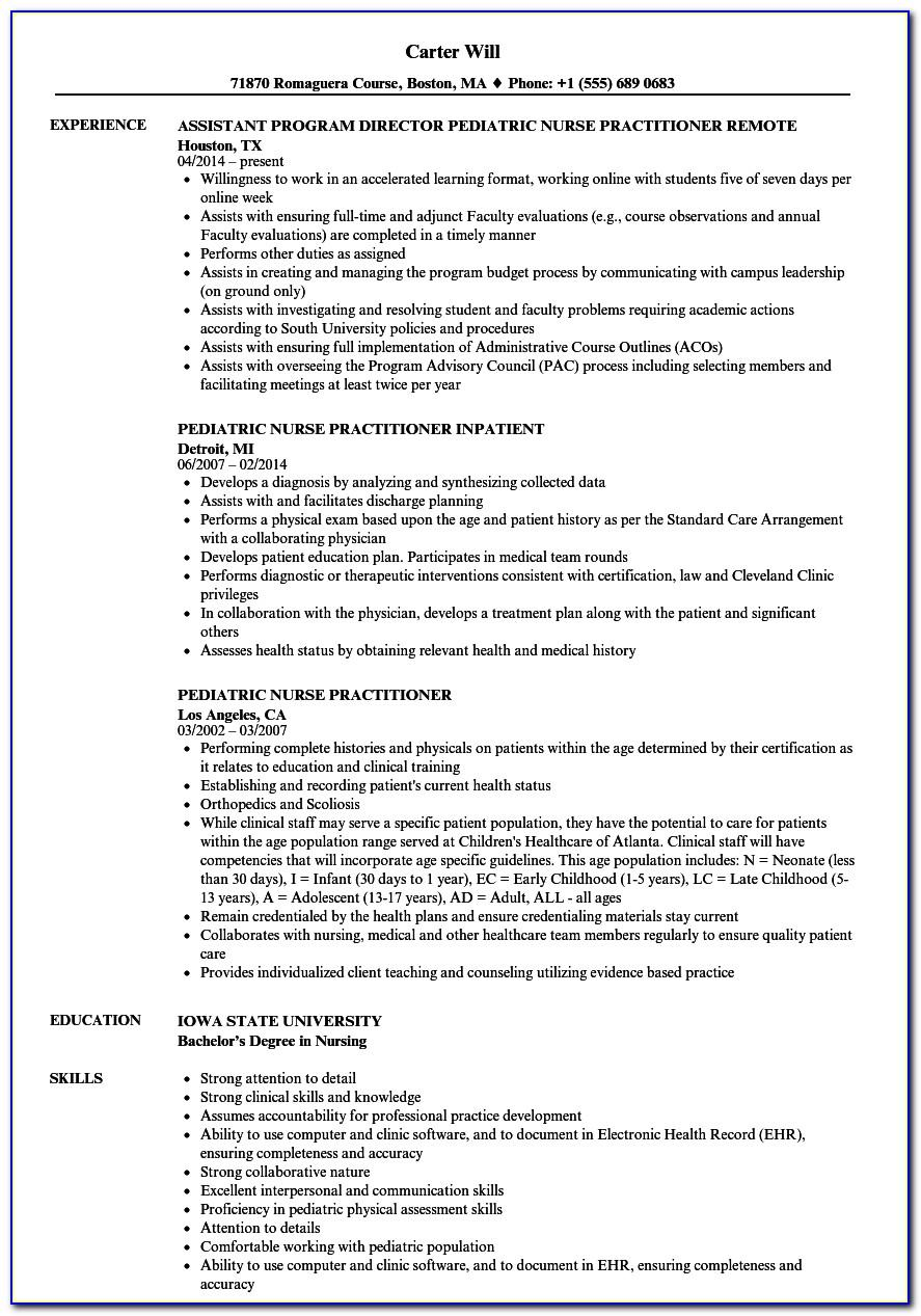 New Graduate Nurse Practitioner Cv Template