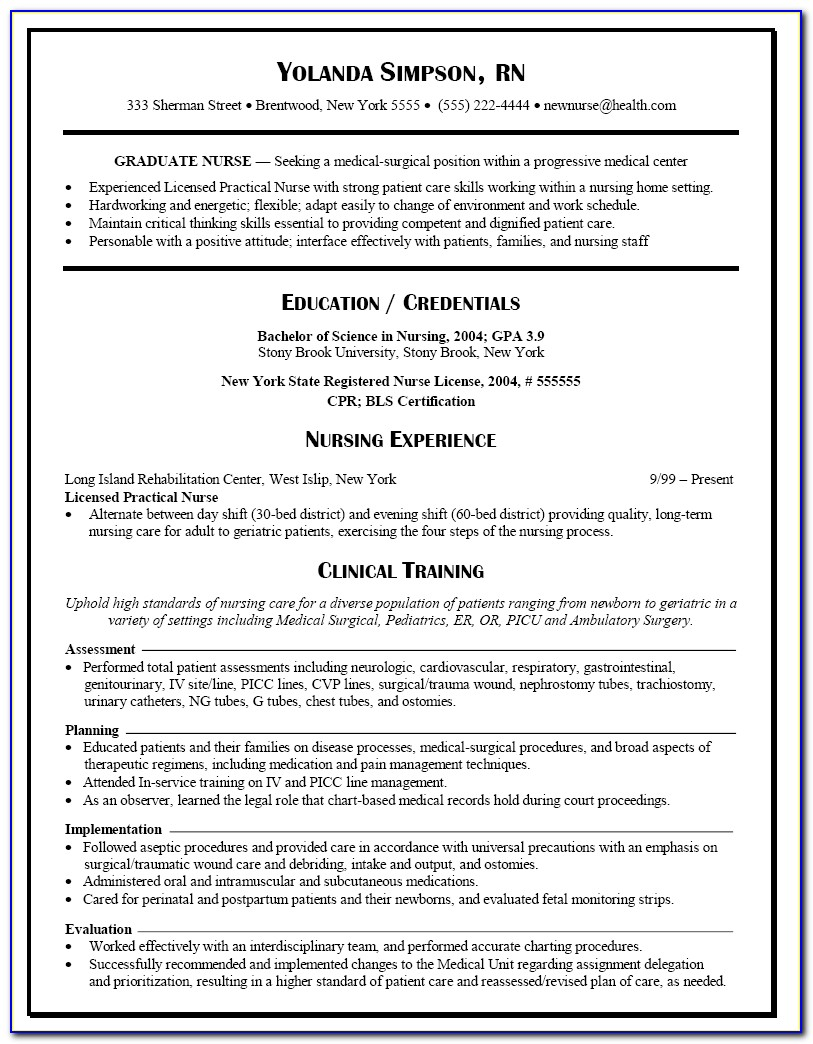 New Graduate Nurse Resume Examples