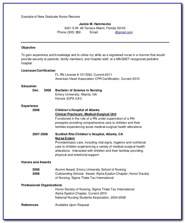 New Graduate Rn Resume Examples