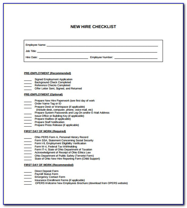 New Hire Document Checklist Template