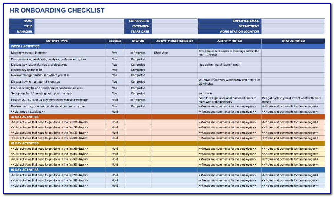 New Hire Onboarding Checklist Template