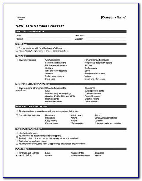 New Hire Orientation Schedule Template