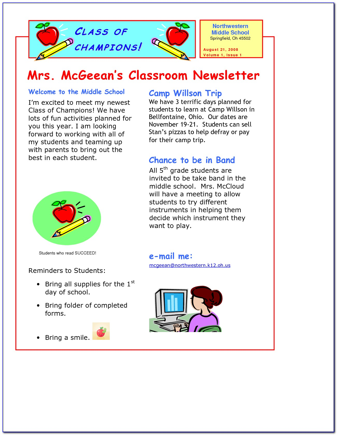 Newsletter Templates For Kindergarten Teachers
