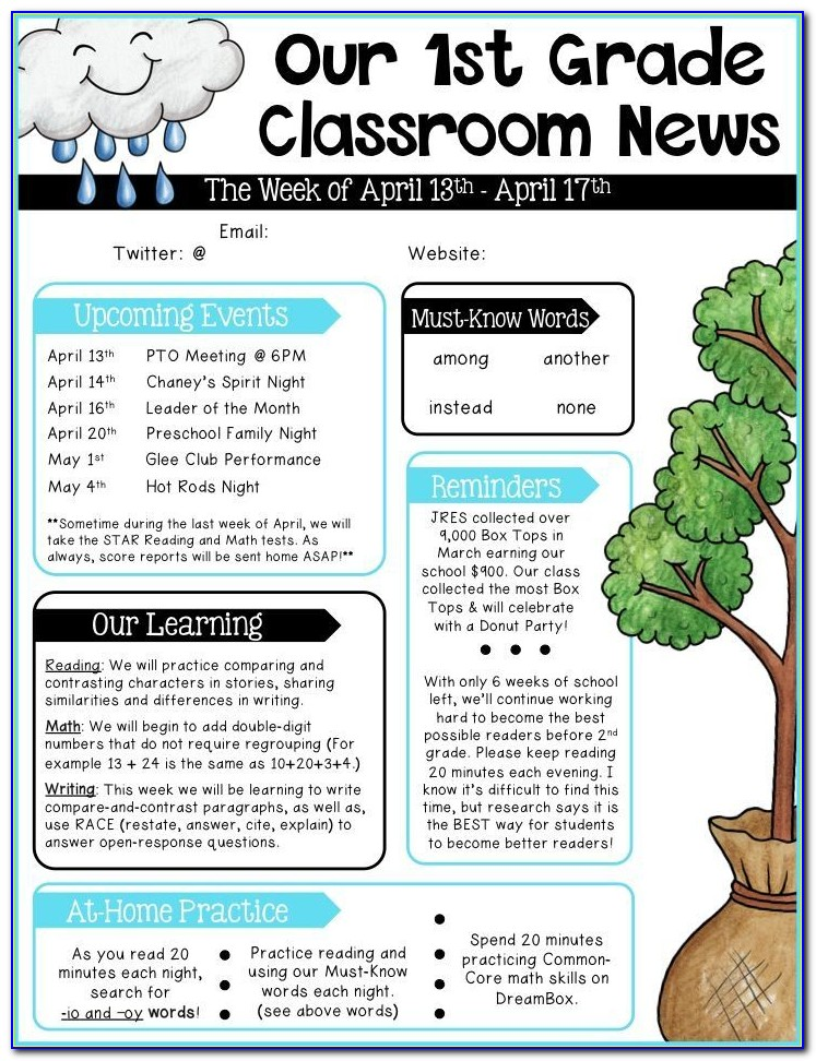 Newsletter Templates Free Elementary Teachers
