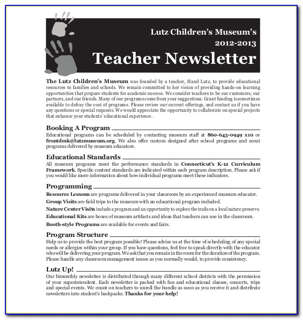 Newsletter Templates Free For Elementary Teachers