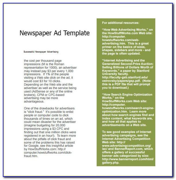 Newspaper Advertising Contract Example