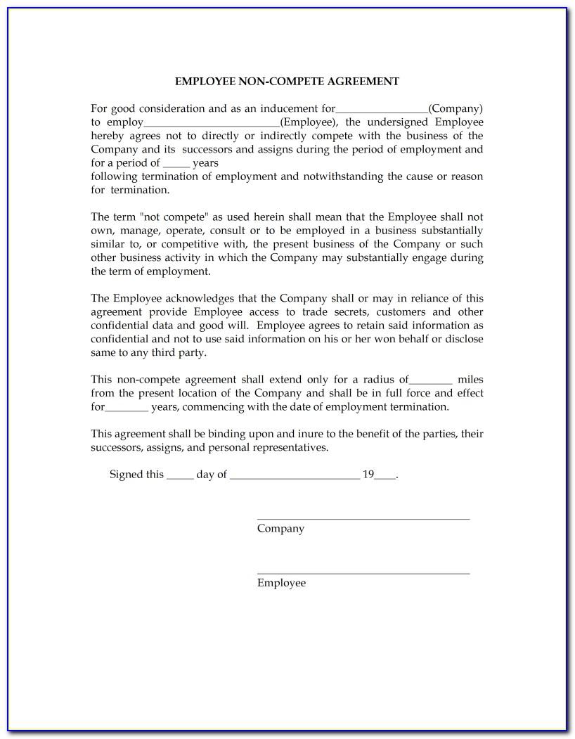 Non Compete Agreement Free Template
