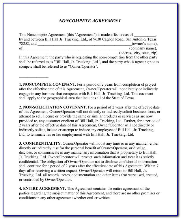 Non Compete Agreement Sample Word