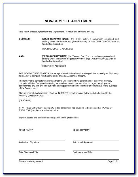 Non Compete Agreement Texas Sample