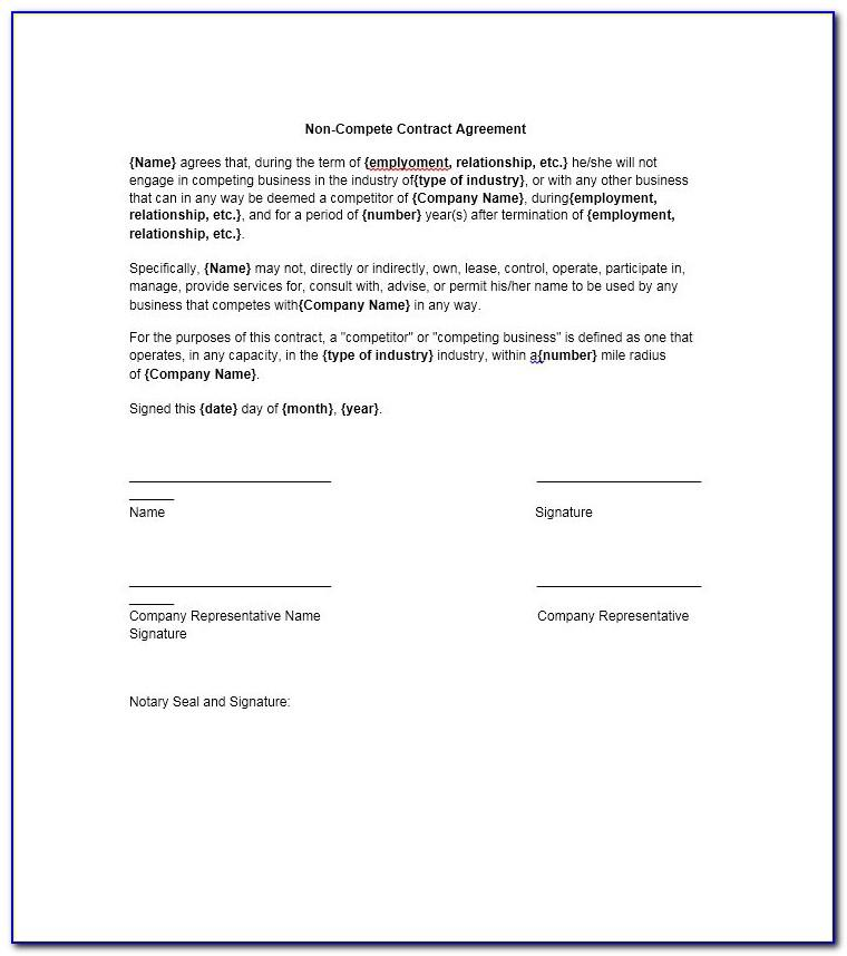 Non Compete Non Solicitation Agreement Template