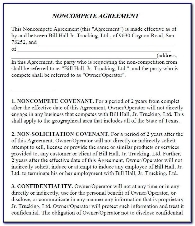 Non Competition Clause Template