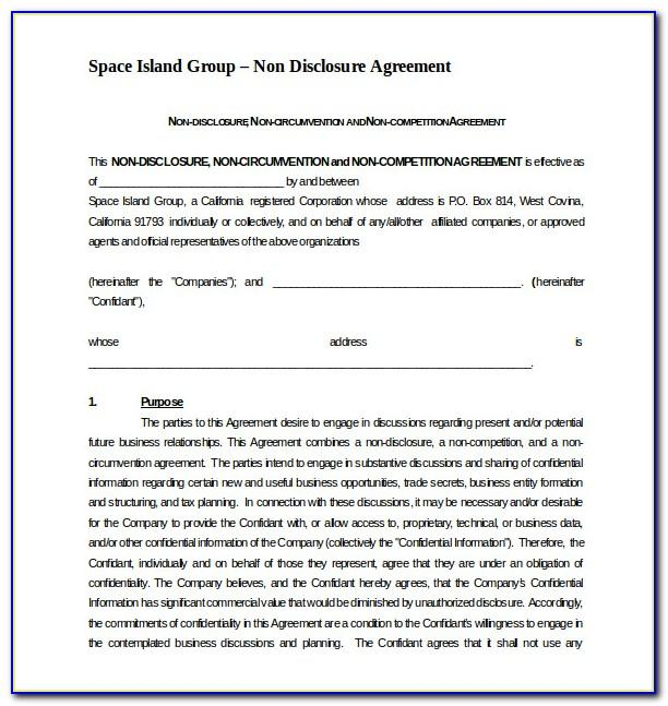 Non Competition Contract Template