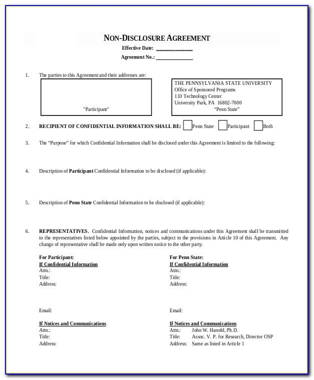 Non Disclosure Agreement Example Pdf