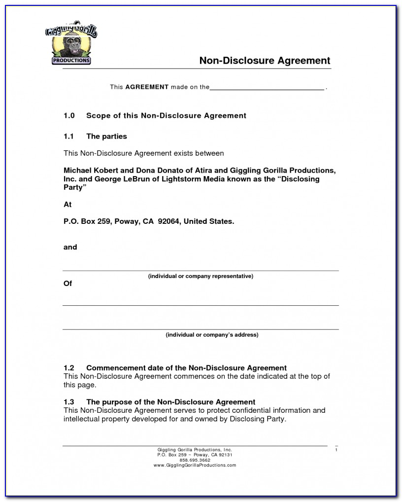 Non Disclosure Agreement Form India