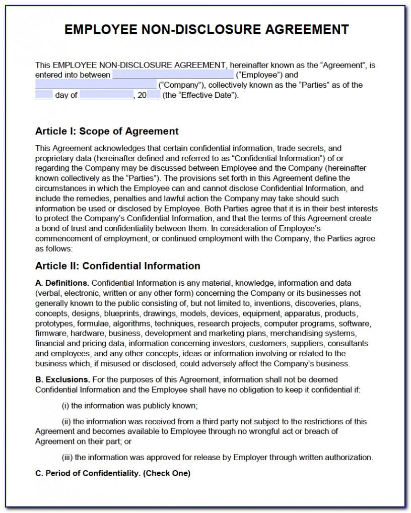 Non Disclosure Agreement Form Pdf
