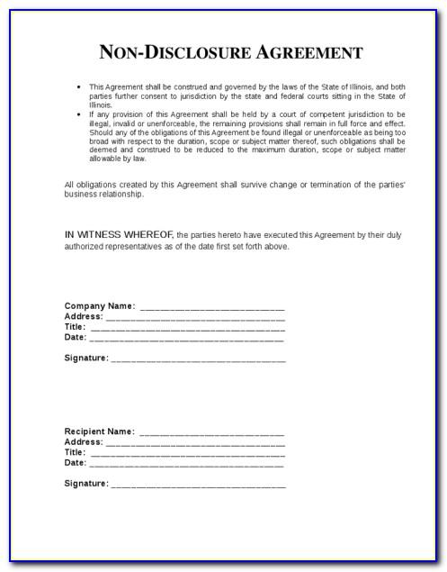 Non Disclosure Agreement Form Texas