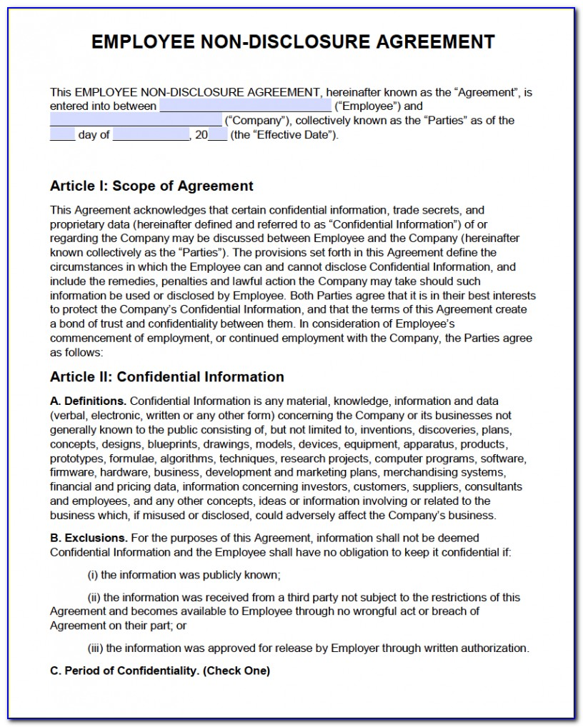 Non Disclosure Agreement Format India