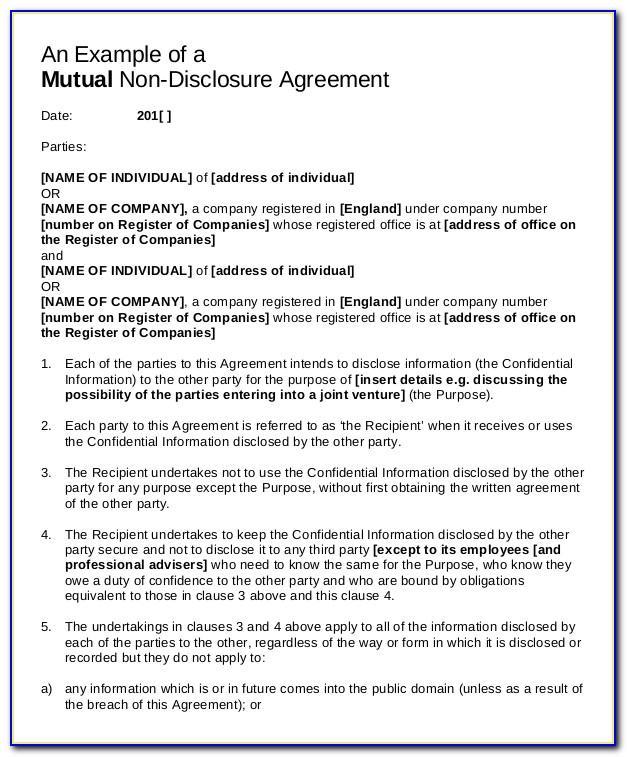 Non Disclosure Agreement Format Pdf