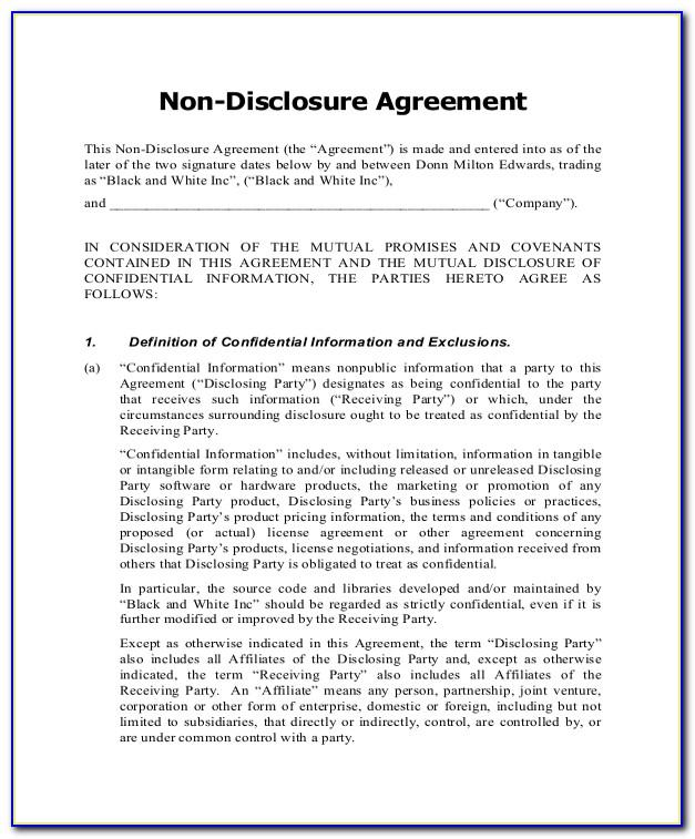 Non Disclosure Agreement Free Template Uk