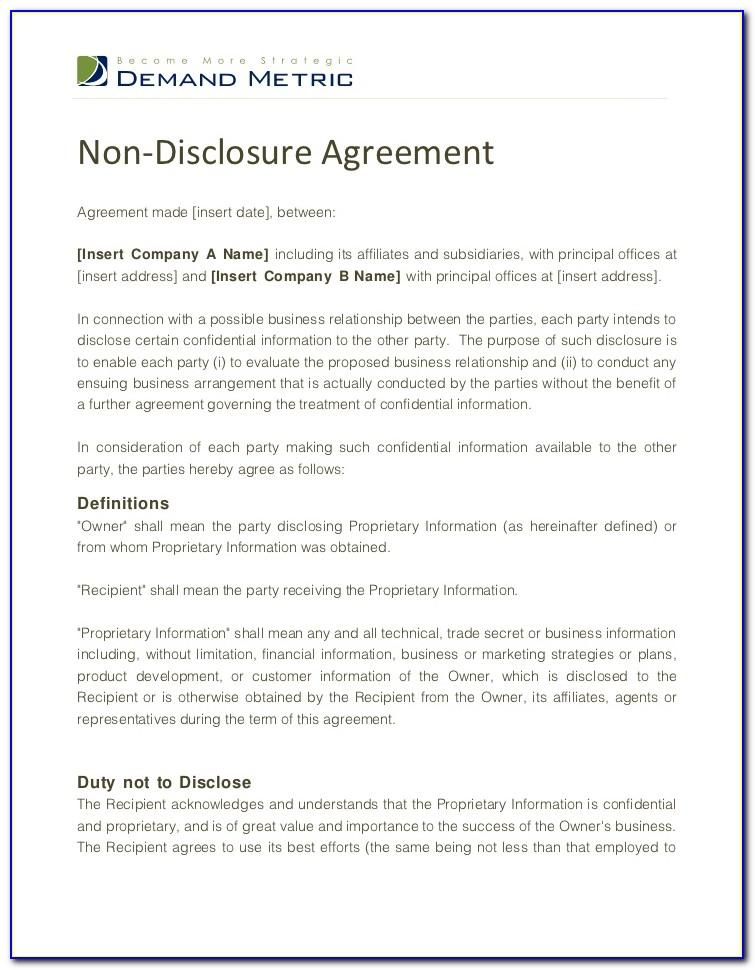 Non Disclosure Agreement Sample Doc Sample