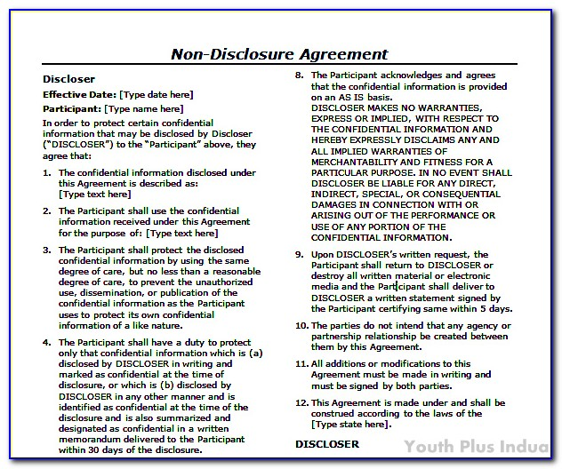 Non Disclosure Agreement Template Canada Free