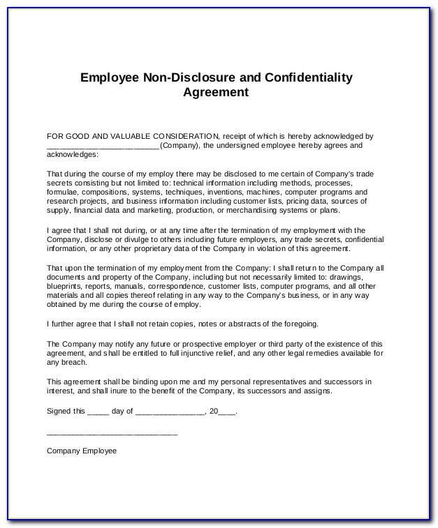 Non Disclosure Agreement Template Download