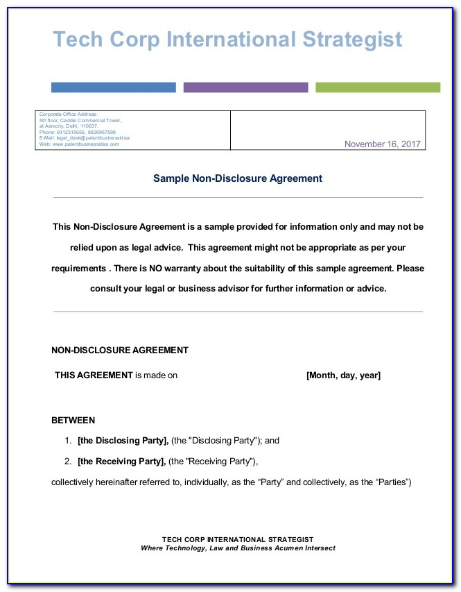 Non Disclosure Agreement Template India
