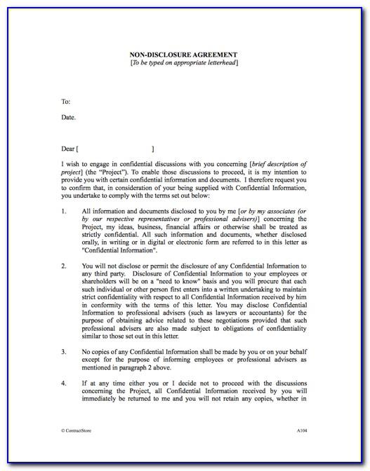 Non Disclosure Agreement Template Microsoft Word