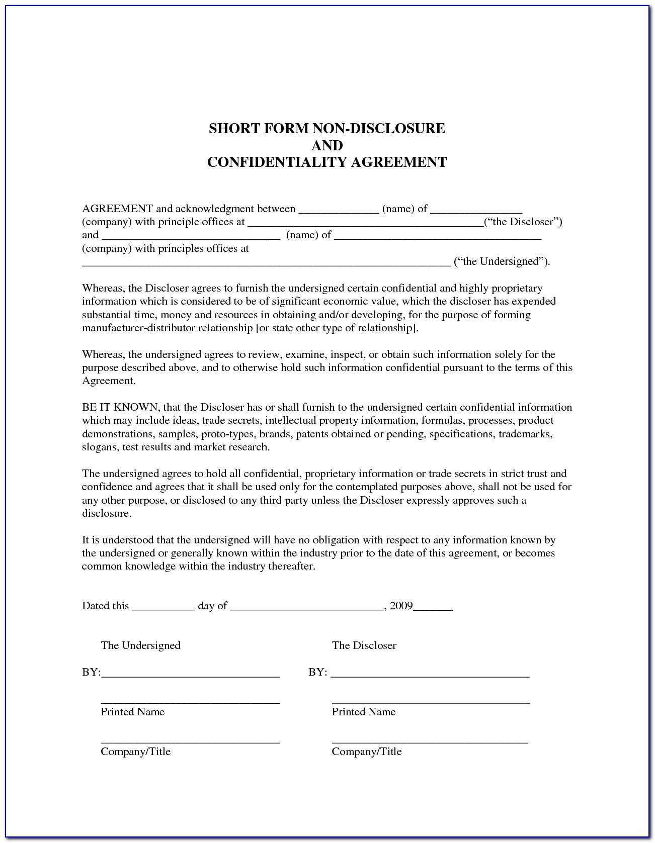Non Disclosure Agreement Template Ontario Canada