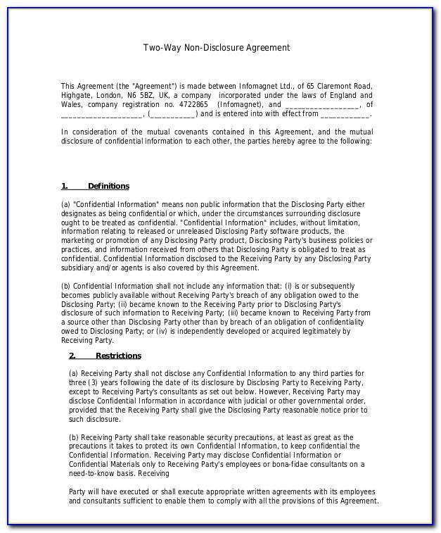 Non Disclosure Agreement Template Ontario