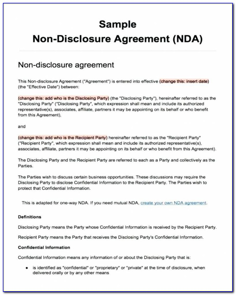Non Disclosure Agreement Template Quebec