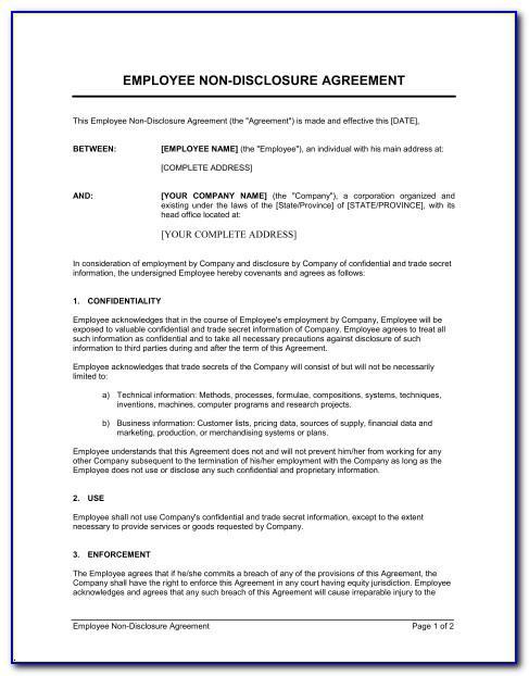 Non Disclosure Agreement Template Word Australia