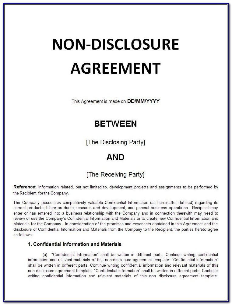 Non Disclosure Agreement Template Word Free