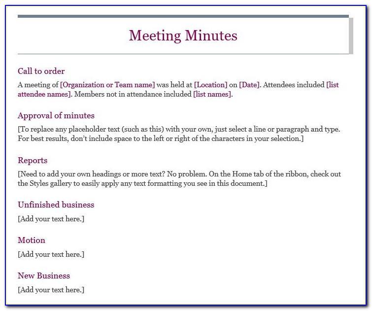 Non Profit Board Meeting Agenda Format