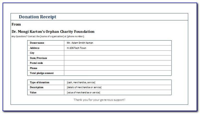 Non Profit Donation Tax Receipt Template