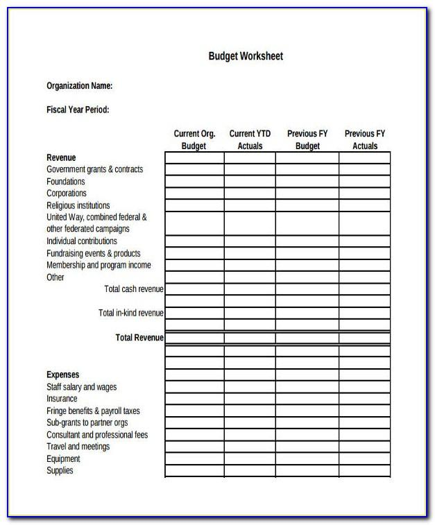 Non Profit Operating Budget Template