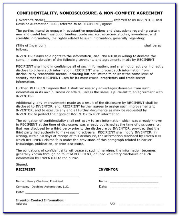Nondisclosure And Noncompete Agreement Template