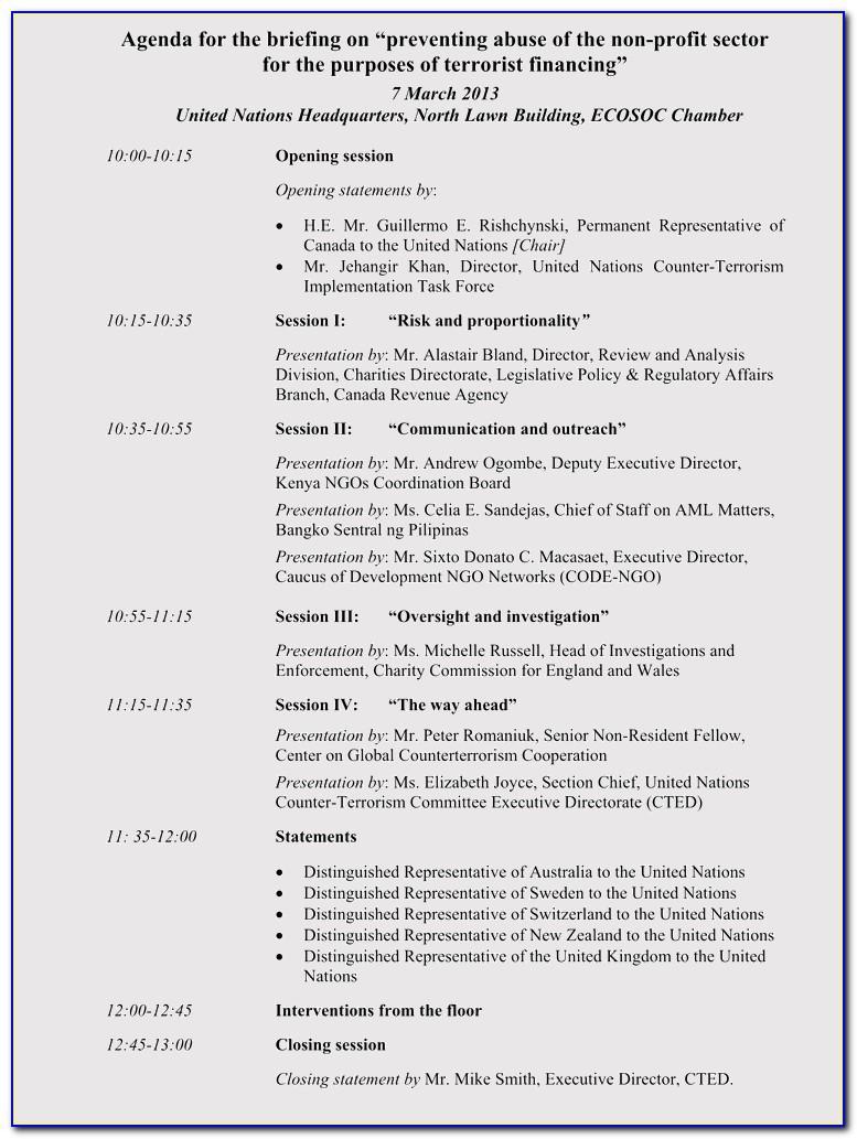Nonprofit Board Meeting Agenda Example