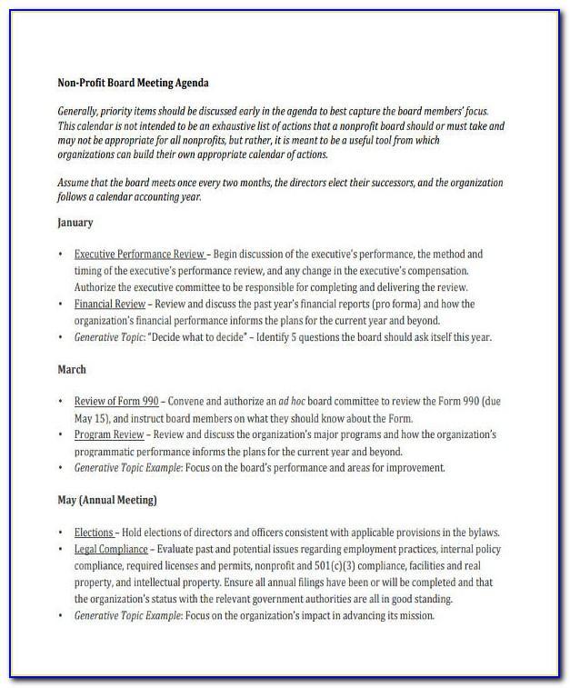 Nonprofit Board Of Directors Meeting Agenda Template