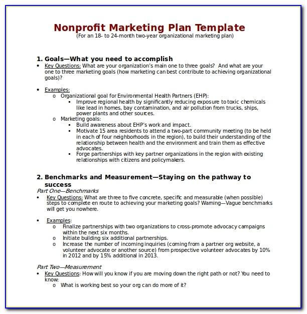 Nonprofit Marketing Plan Template Free