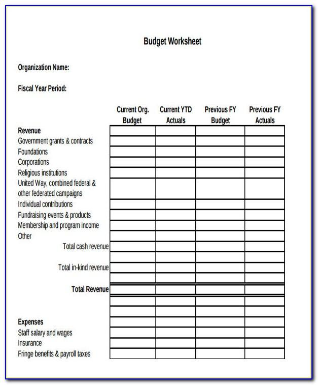Not For Profit Operating Budget Template