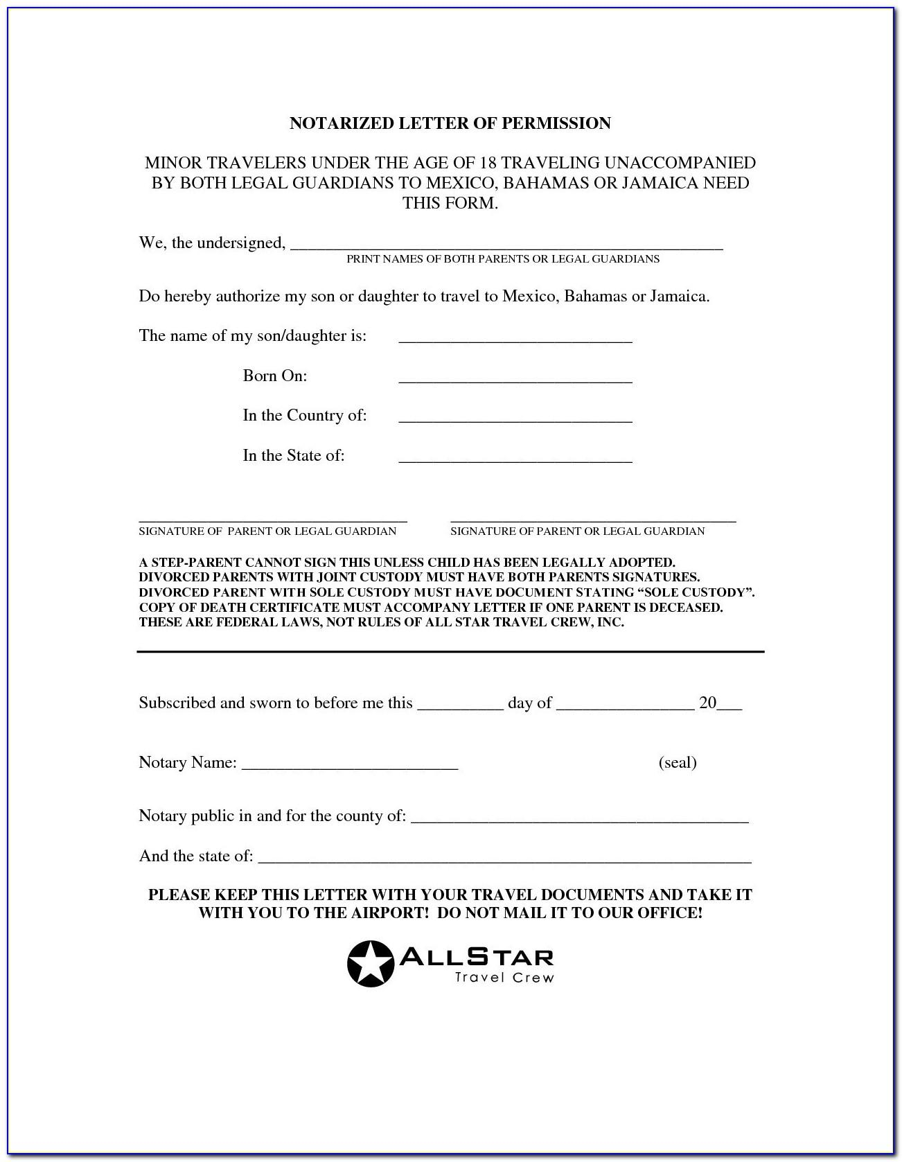 Notarized Letter For Child Travel Canada