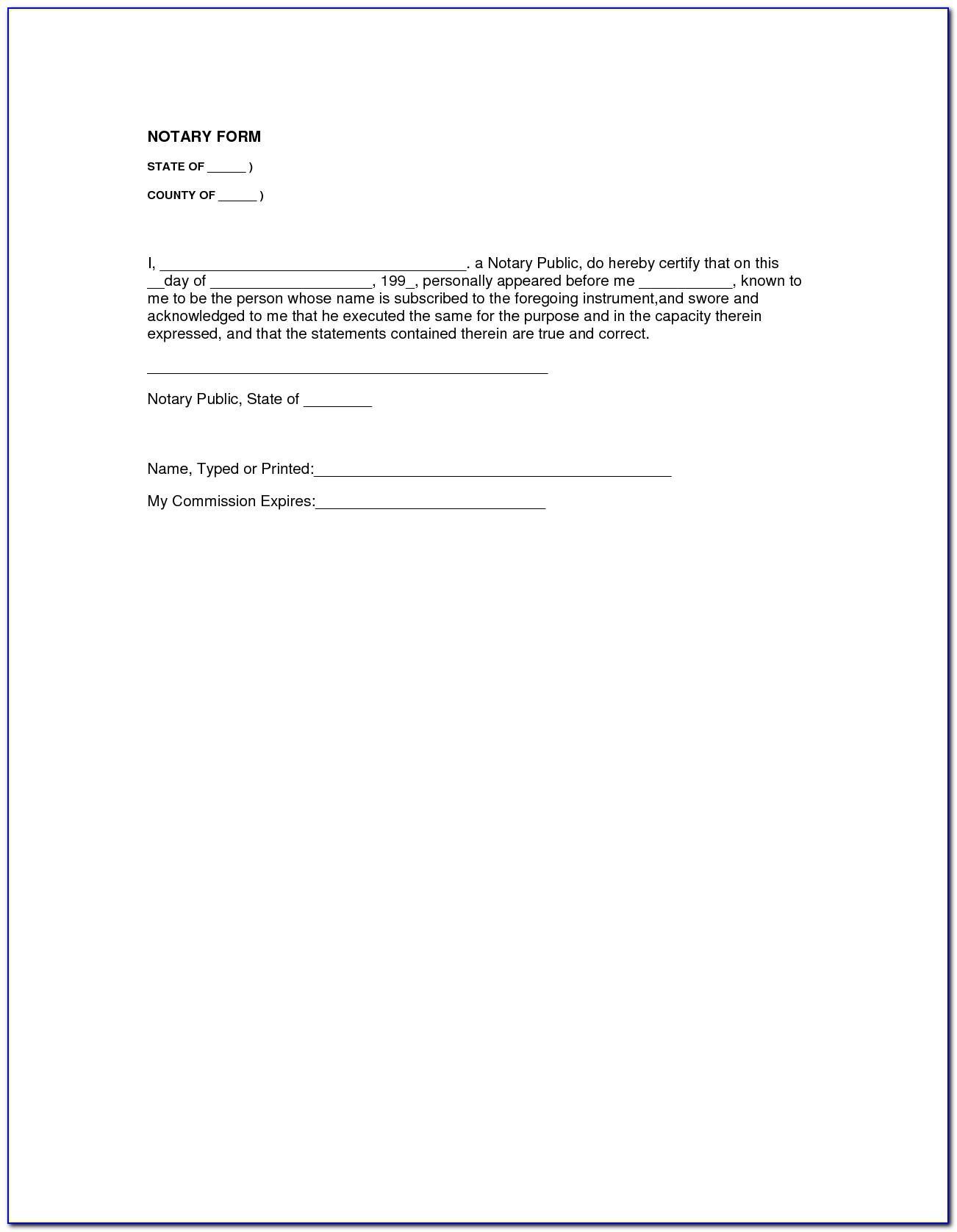 Notary Verbiage Sample Washington State