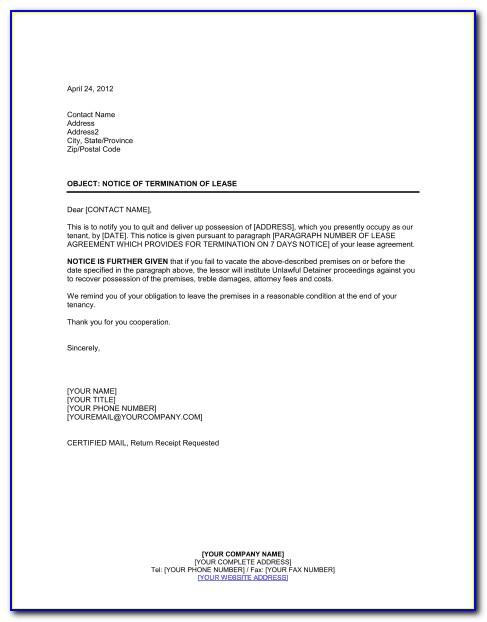 Notice For Termination Of Tenancy Agreement