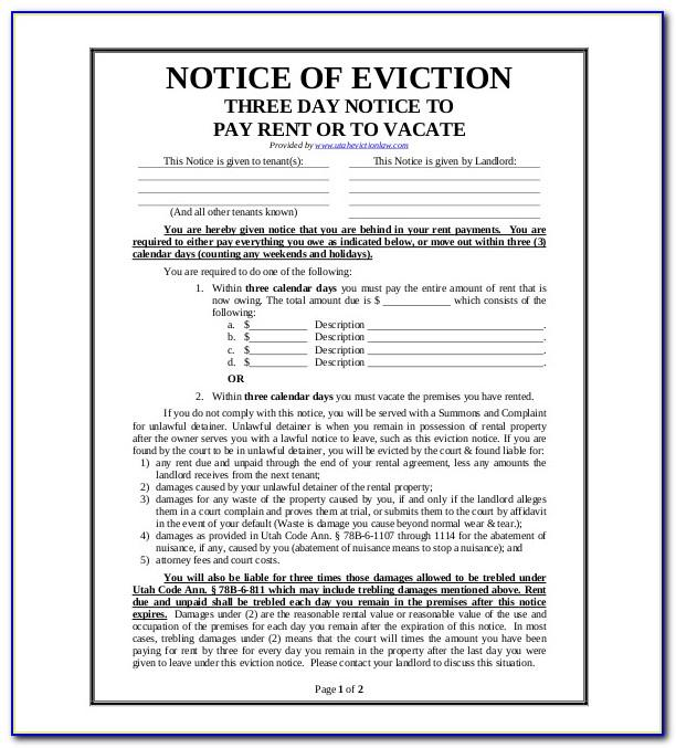 Notice Of Intent To Vacate California Template