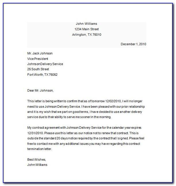Notice Of Termination Of Contract Example