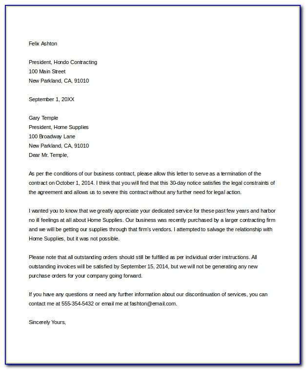 Notice Of Termination Of Contract Form