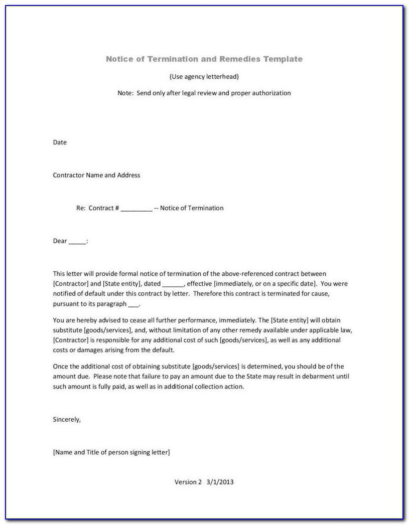 Notice Of Termination Of Contract Template Uk