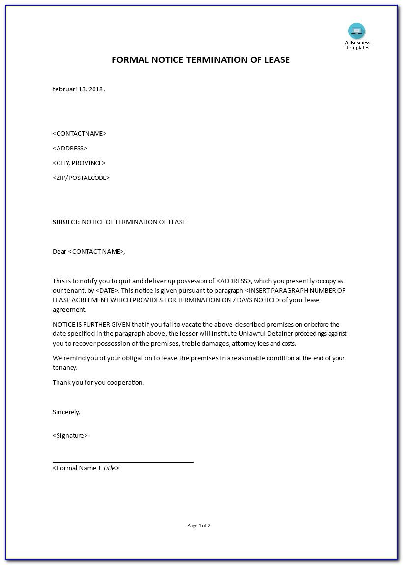 Notice Of Termination Of Lease By Landlord California