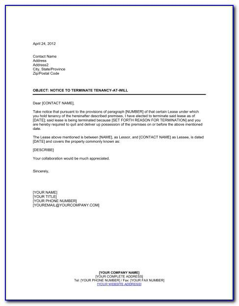 Notice Of Termination Of Lease By Landlord Ontario